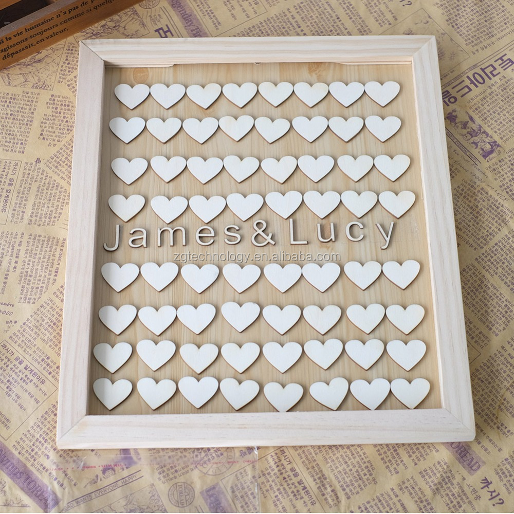 Unique Personalised Wedding Guest book Alternative Wooden Heart Custom Name Guestbook with Heart Fashion Wedding Guest Signature