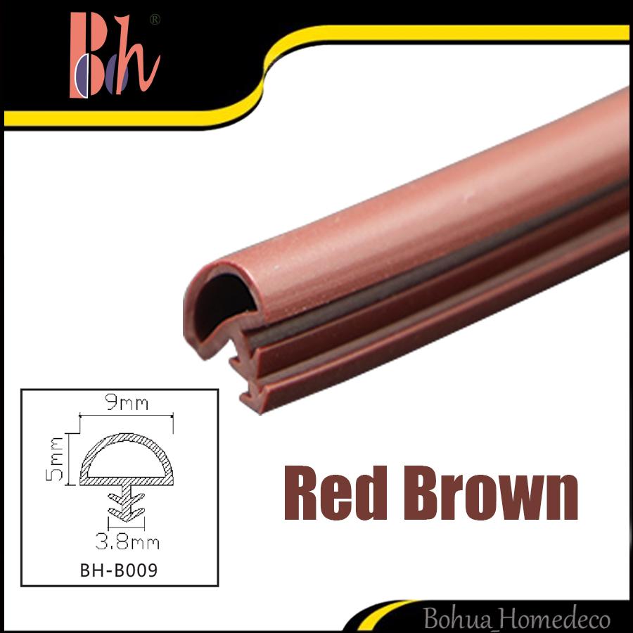 Rojo marrón PVC goma tira de sellado de puerta de madera ranura ...