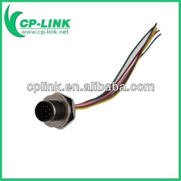 M12 8-poliger stecker vor gewinde panel pcb lötdraht ip67-Vermittler ...