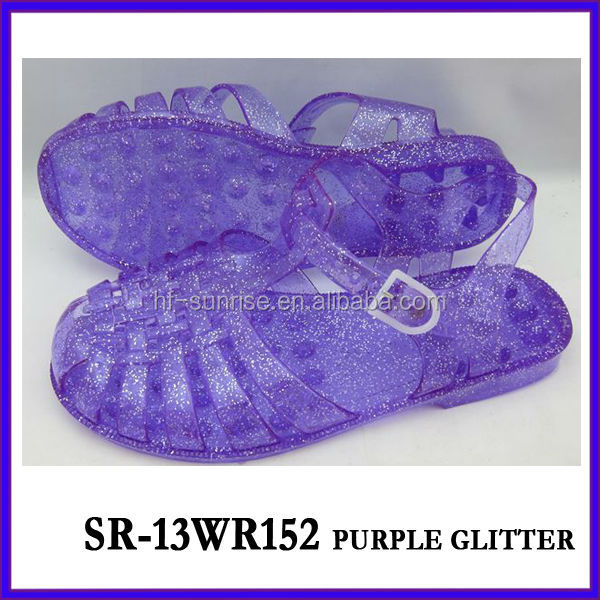 Sr-13wr152 Purple Glitter Jelly Beans Sandals Women Transparent ...