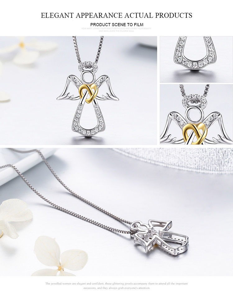 Wholesale jewelry 925 silver crystal cubic zirconia angel heart shaped feather silver necklace