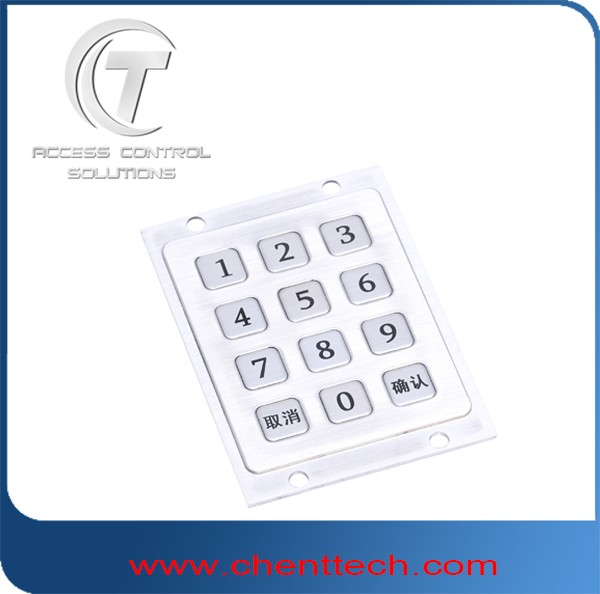 IP68 waterproof 3x4 digital numeric metal keypads