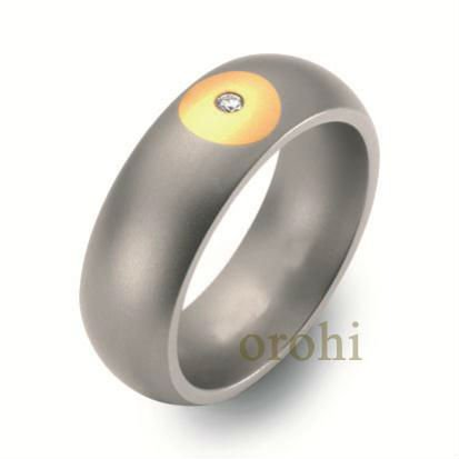 TR02-Y-D 14k gold inlaid titanium ring, titanium ring with diamonds