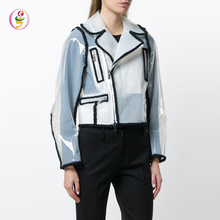 <span class=keywords><strong>Biker</strong></span> jas off center rits jacket plastic regen jas notched kraag lange mouwen pvc zip