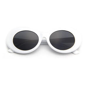 Superhot Eyewear NIRVANA Kurt Cobain Sun Glasses Shades 90s Retro Vintage White Oval Sunglasses