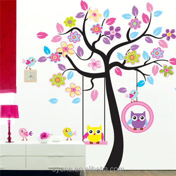 3D Removable Wallpaper Owls Tree Wall Stickers For Kids Rooms Decal  Colourful Tree Hanging Owl Bids