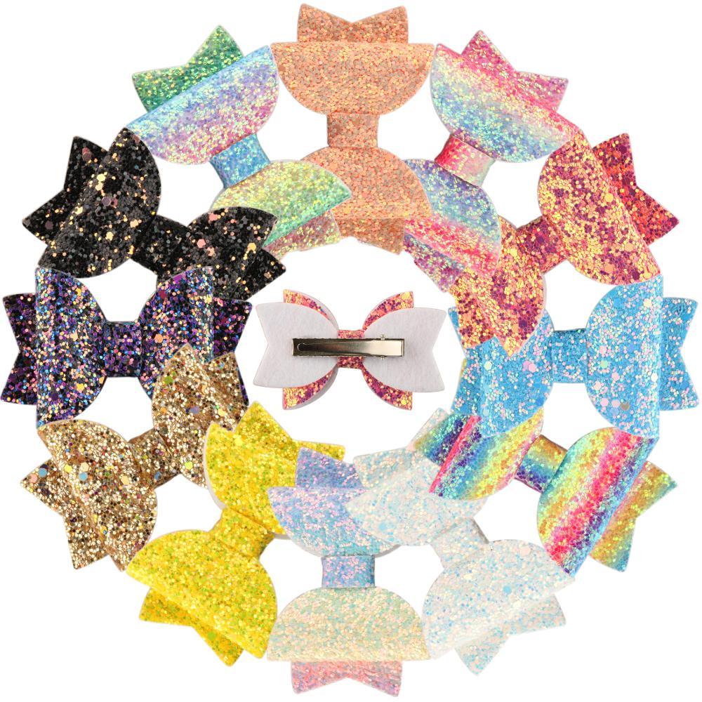 3 di pollice Glitter Arcobaleno Clip di Capelli Della Farfalla Hairgrips Ragazze Archi Dei Capelli per I Bambini