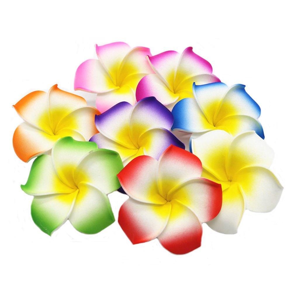 50 Happy Will 50 Pcs Hawaiian Foam Artificial Plumeria Rubra Hawaiian Flower Petals For Wedding Party Decoration