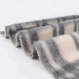 Fashion black white plaid mohair wool polyester knit fabric
