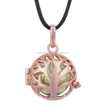 Fashion Perfume Jewelry Solid Rose Gold Plated Aromatherapy Locket