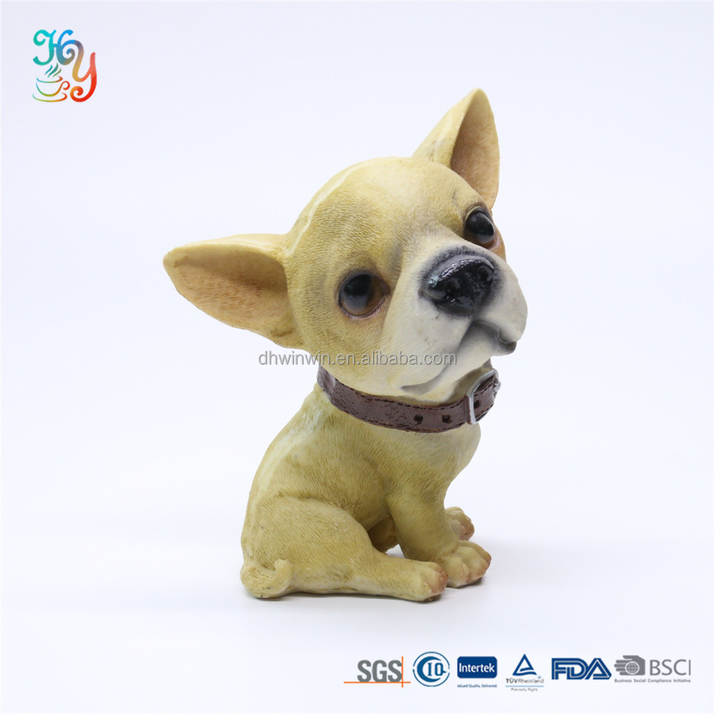 Collectible Resin Yellow Chihuahua Dog Statue Sculpture For Home Hotel Bar