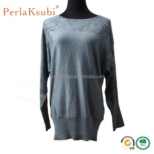 Tight Sleeve V Neck Fashion Lady Wool Sweater Design of Hand Made