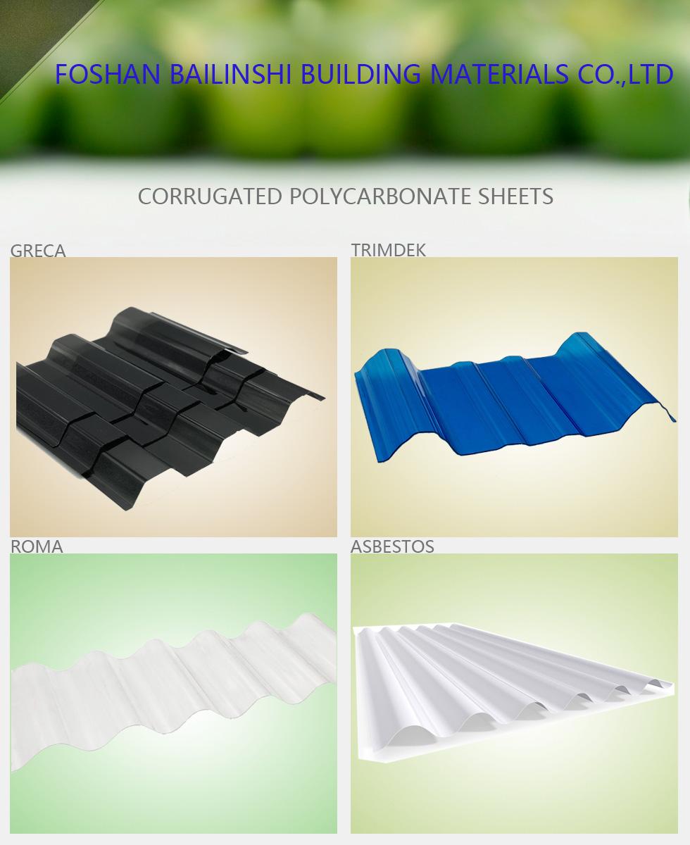 Résistance aux intempéries Sinus type feuille ondulée de Polycarbonate feuille de toiture PC
