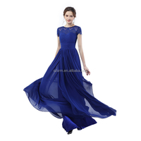 Royal Blue A Line Party Prom Dress With Bow Ribbon Floor Length Zipper Cap Sleeve Chiffon Evening Dress