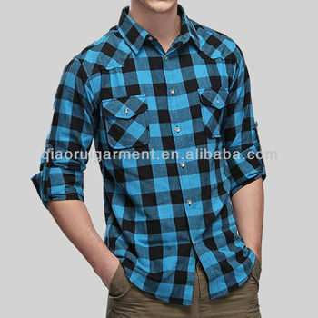 Men S Blue Cotton Plaid Flannel Shirt Buy Mens Plaid Flannel Shirt