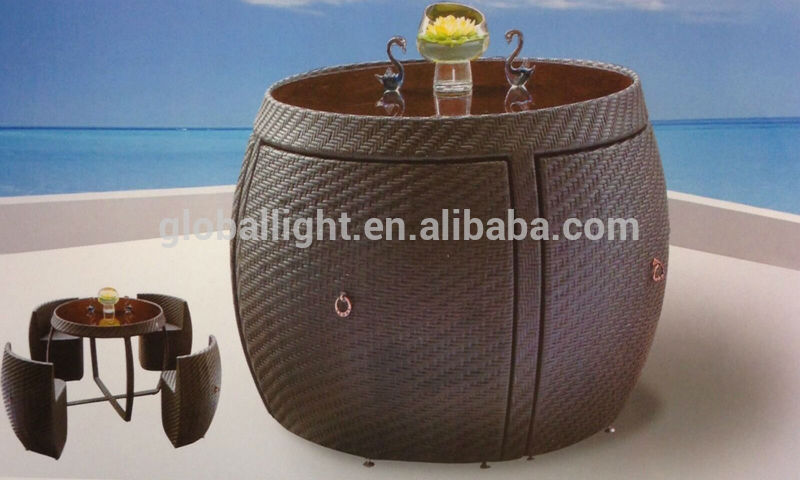 Rattan Garden Space Saver Compact Chair Set Table Glass
