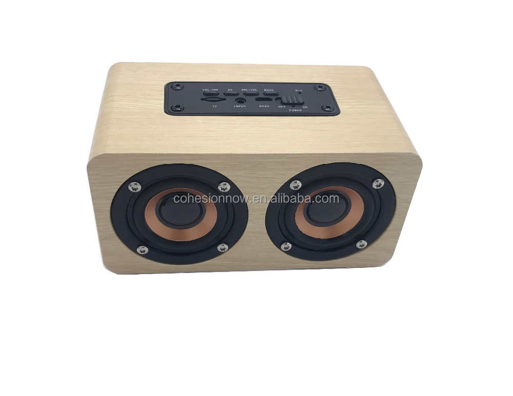Christmas gift Dual surround High Fidelity super mega bass wireless wood Bluetooth <strong>speaker</strong>