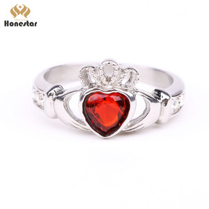 Honestar Stainless steel Red Heart Zircon With Hand Crown Wedding rings