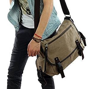 Vintage Canvas Messenger Bag Case Casual Bags Shoulder Laptop Bag School bags Attache case for Men Young People Student - Khaki