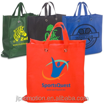 Eco-Green Reusable 80GSM Non woven Shopper Tote Bag Folds up with snap closure and 100% recyclable Grommeted handles