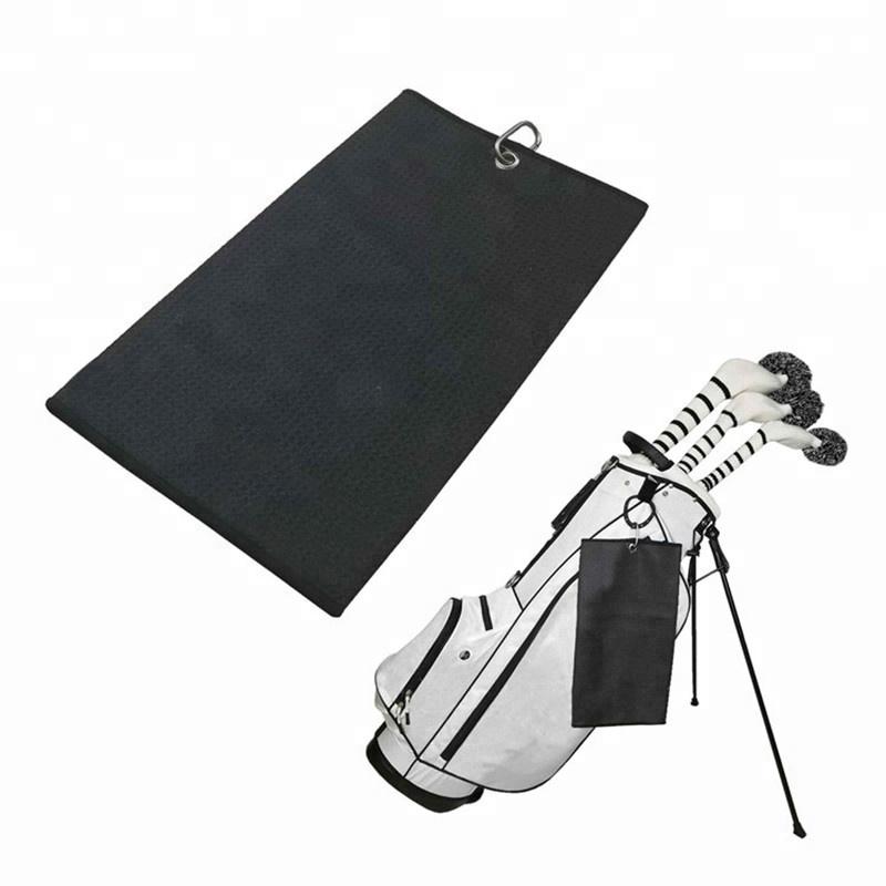 מותאם אישית מודפס לוגו פעולה כפולה שחור לבן Tri פי מיקרו סיבי ופל לארוג סגנון מיקרופייבר גולף מגבת עם Grommet ו carab