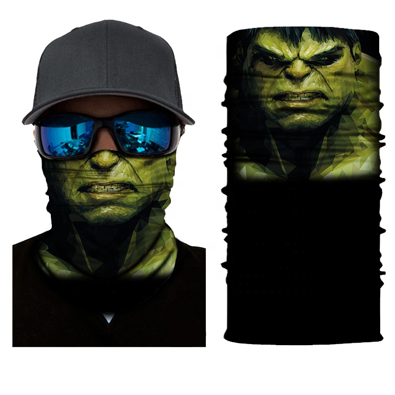 100% Polyester Seamless <strong>Bandana</strong> Sweatproof Green Skull Face Mask Tube <strong>Bandana</strong>