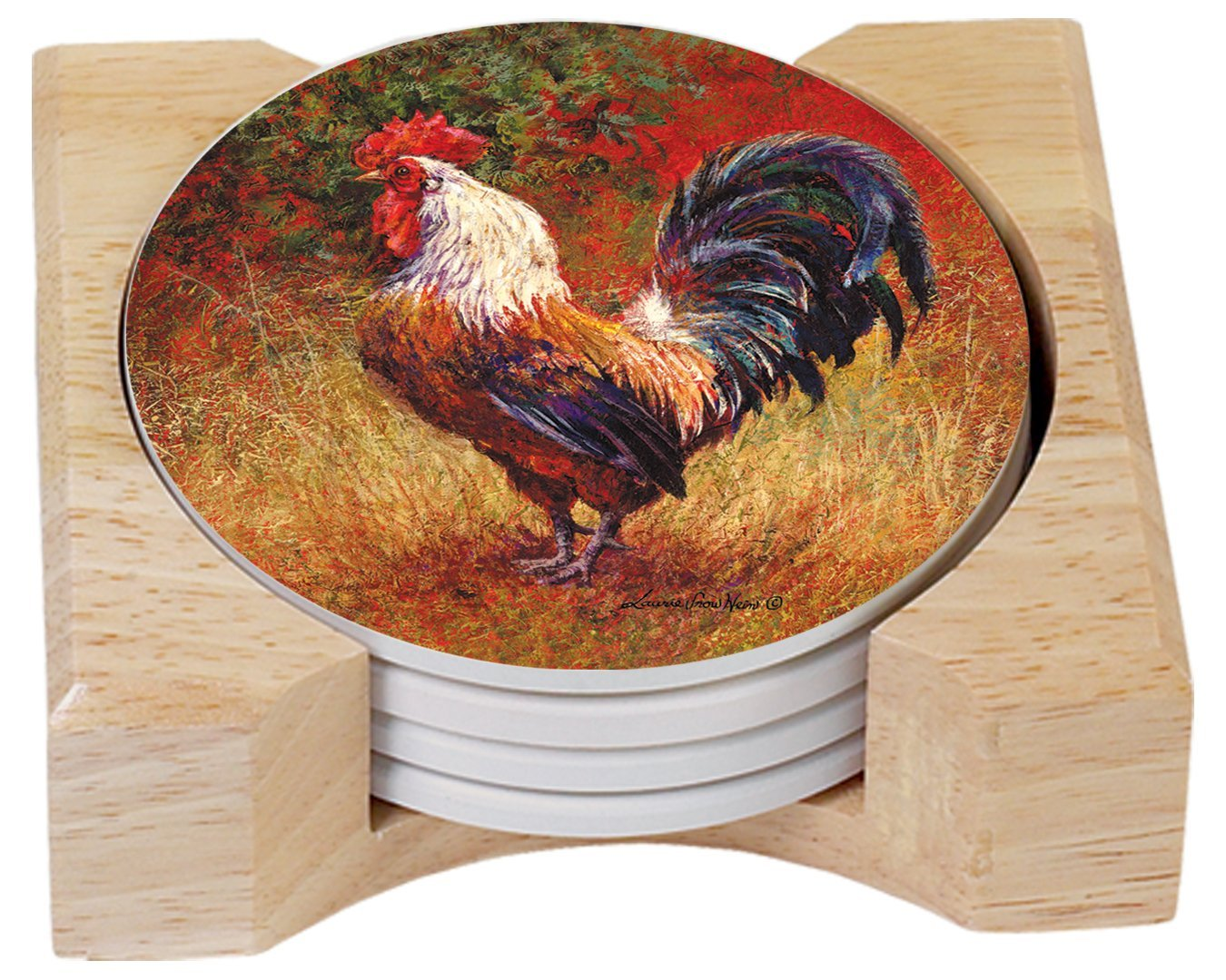 CounterArt Wrought Iron Rooster Design Absorbent Coasters in Wooden Holder, Set of 4