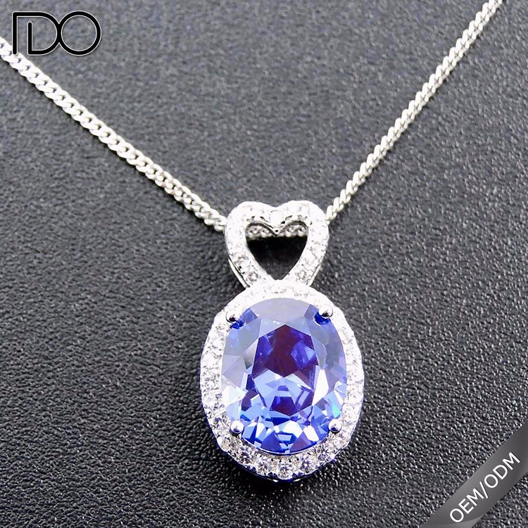 Most fashionable tanzanite color simple solid sterling silver 925 charms