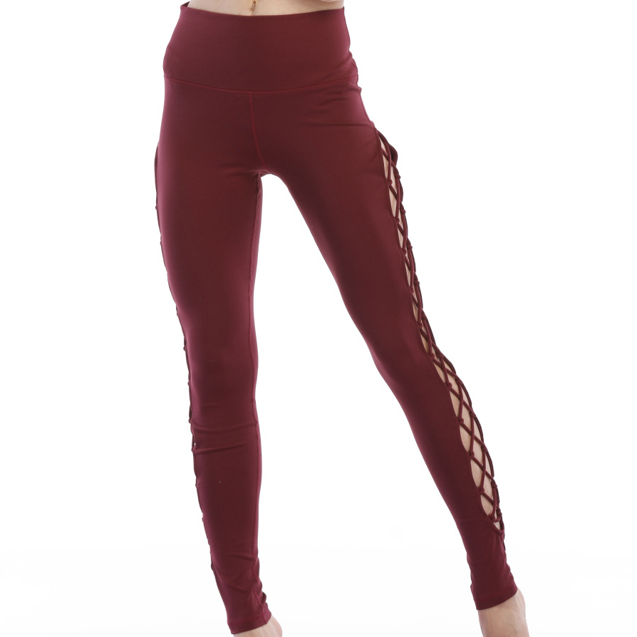 specific design red pants side cross women yoga custom leggings