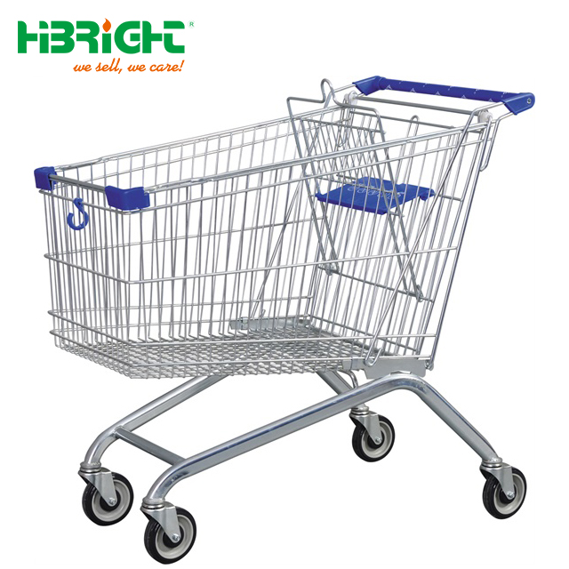 4 wheel metal supermarket shopping trolley for sale