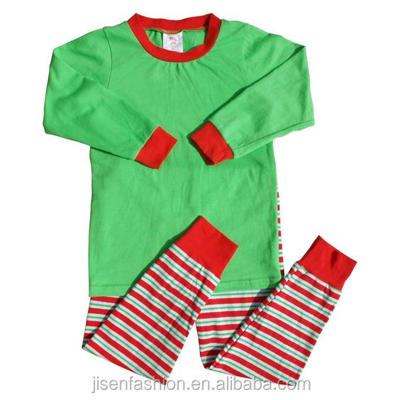 Wholesale Red White Green Stripe Ruffle Tunic Pants Toddler Pajamas