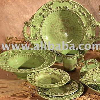 Green Tuscan Horchow 16pc Dinnerware Set Baroque Design