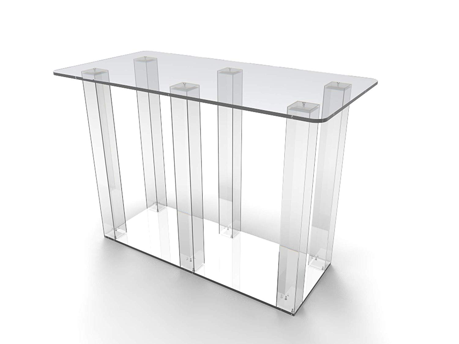 FixtureDisplays Clear Acrylic Dining Table Conference Desk Computer Desk Office Desk Workstation for Home & Office Use Glue Version 11461NEW