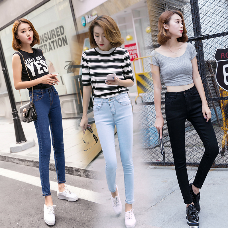 High Quality Ankle-Length Pants Skinny Jeans Woman Casual Denim Jeans Women Black Jeans femme Slim Trousers 3 Colors #3S16328