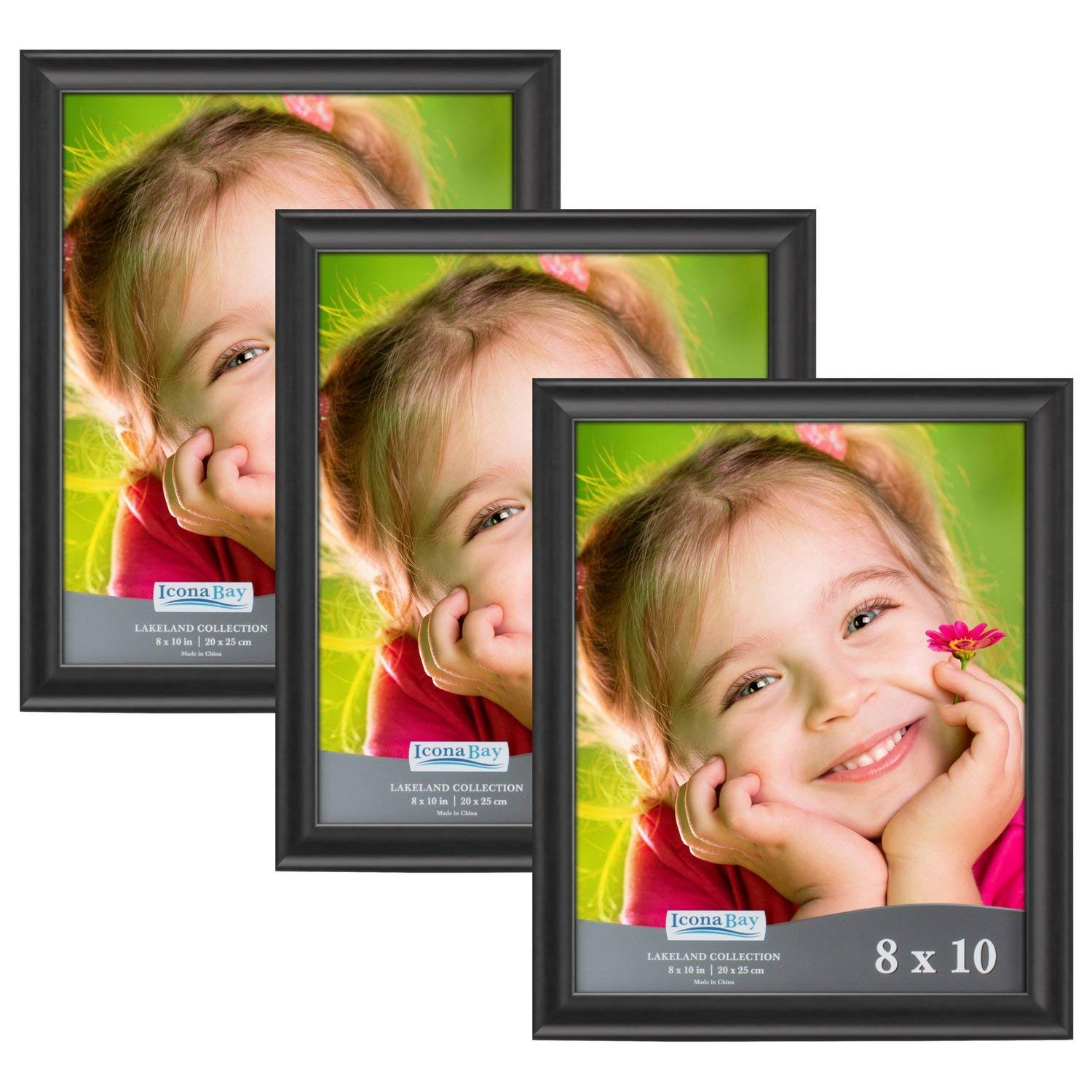 Icona Bay 8x10 Picture Frame (3 Pack, Black Wood Finish), Photo Frames Set for Wall or Table, Photo Frame 8x10 Set, Black Picture Frames 8 x 10 Set, Black Photo Frames 8x10, Lakeland Collection