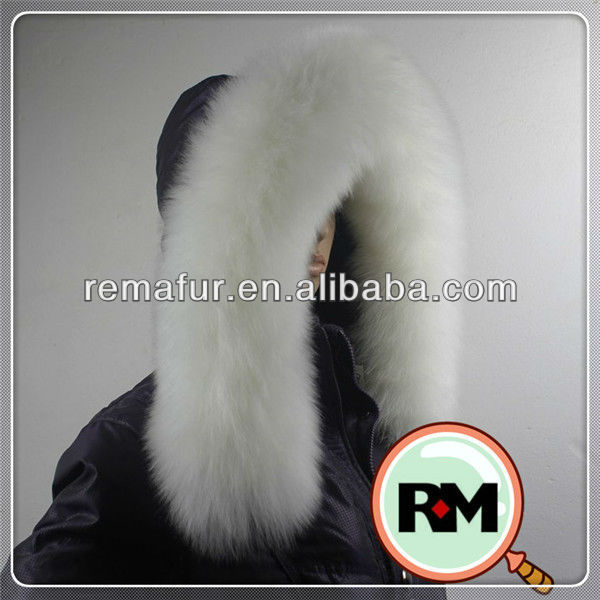 100% genuine raccoon fur trim for hood dyed in pure white color