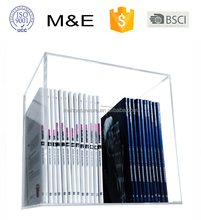 Clear hanging wall mounted acrylic book shelf acrylic display case