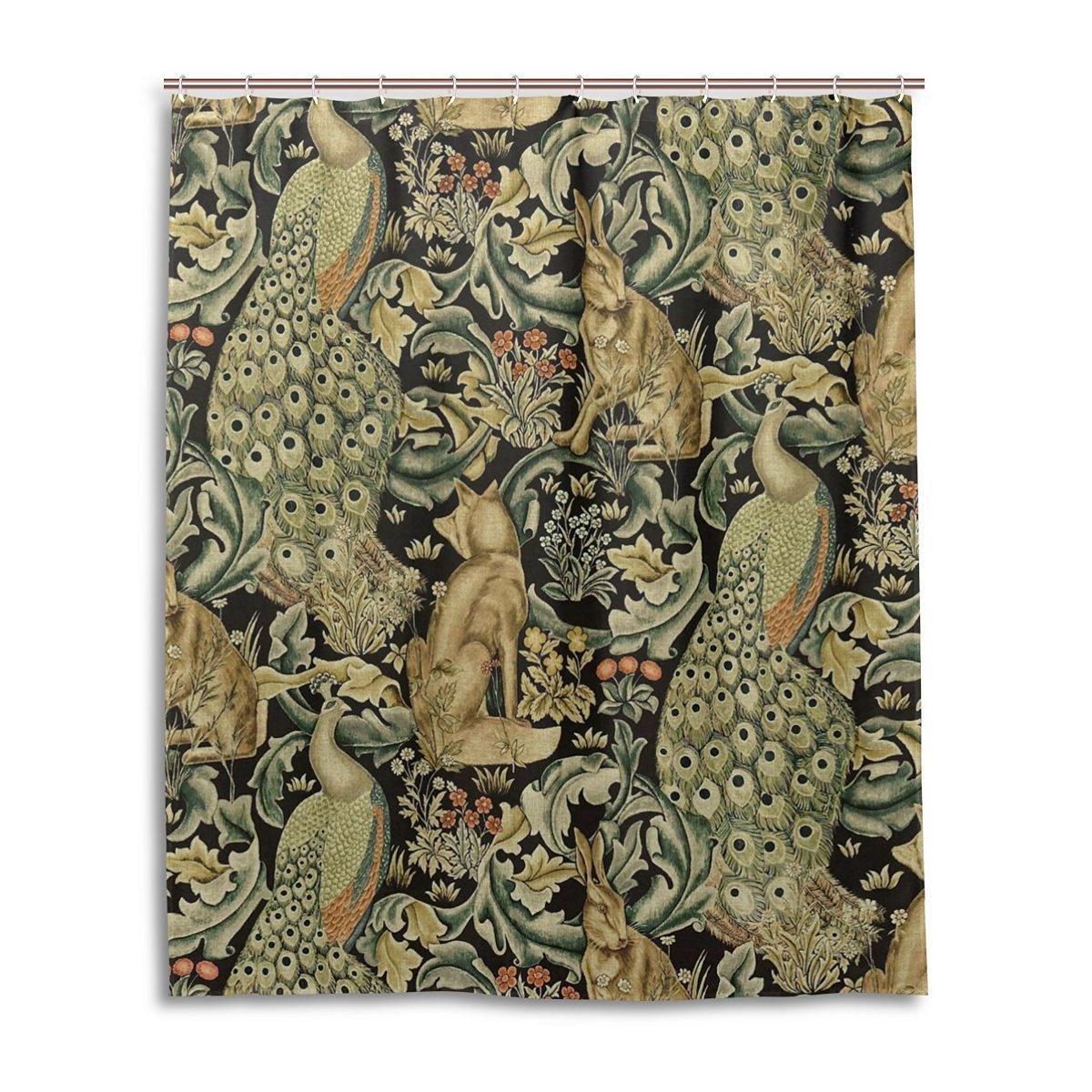 JSTEL Decor Shower Curtain William Morris Peacock Prints Pattern Print 100 Polyester Fabric