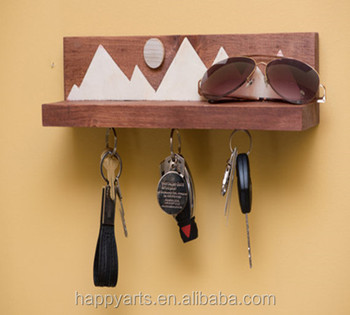 Wooden Magnetic Key Holder For Wall Hook Rack With Shelf Buy