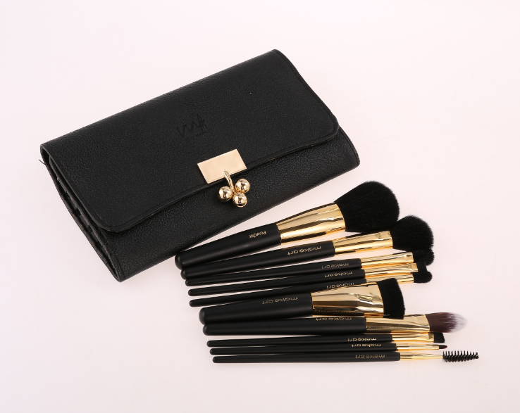 Quality classical black natural hair makeup brush set 10pcs