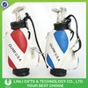 Promotion custom logo leather +pu mini gift golf bag with clock
