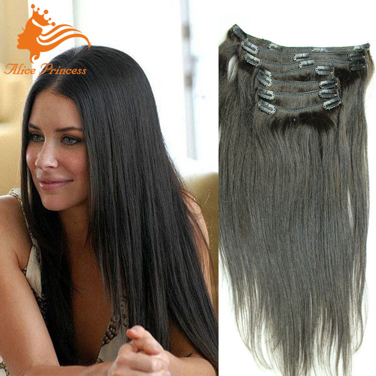 Italian Yaki Clip In Human Hair Extensions Virgin Brazilian Hair