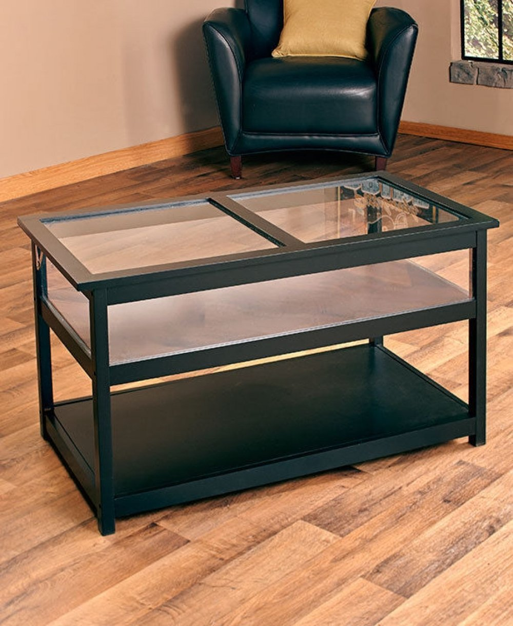 Buy Kissemoji Black Coffee Table Display Case Glass Top End Side - Shadow box side table