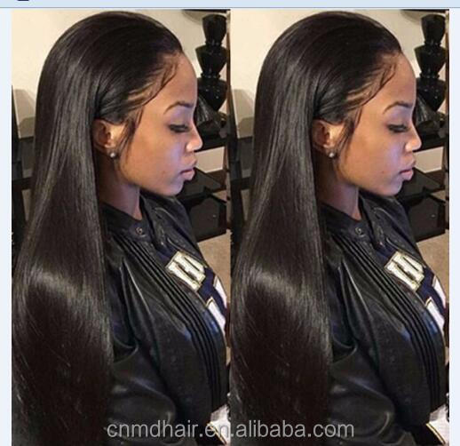 60 cm Heat Resistant Fiber Hair Free Part Long Straight Black Synthetic Lace Front Wig for African American Women