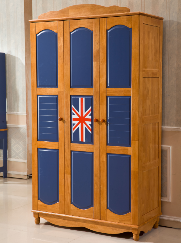 Oak solid wood 3 doors wardrobe bedroom furniture kids bedroom The Union flag