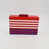 Ladies Red White Red Blue Striped Acrylic Clutch Bag Women Casual Day Clutches Hardcase Evening Bags Metal Chain Handbag