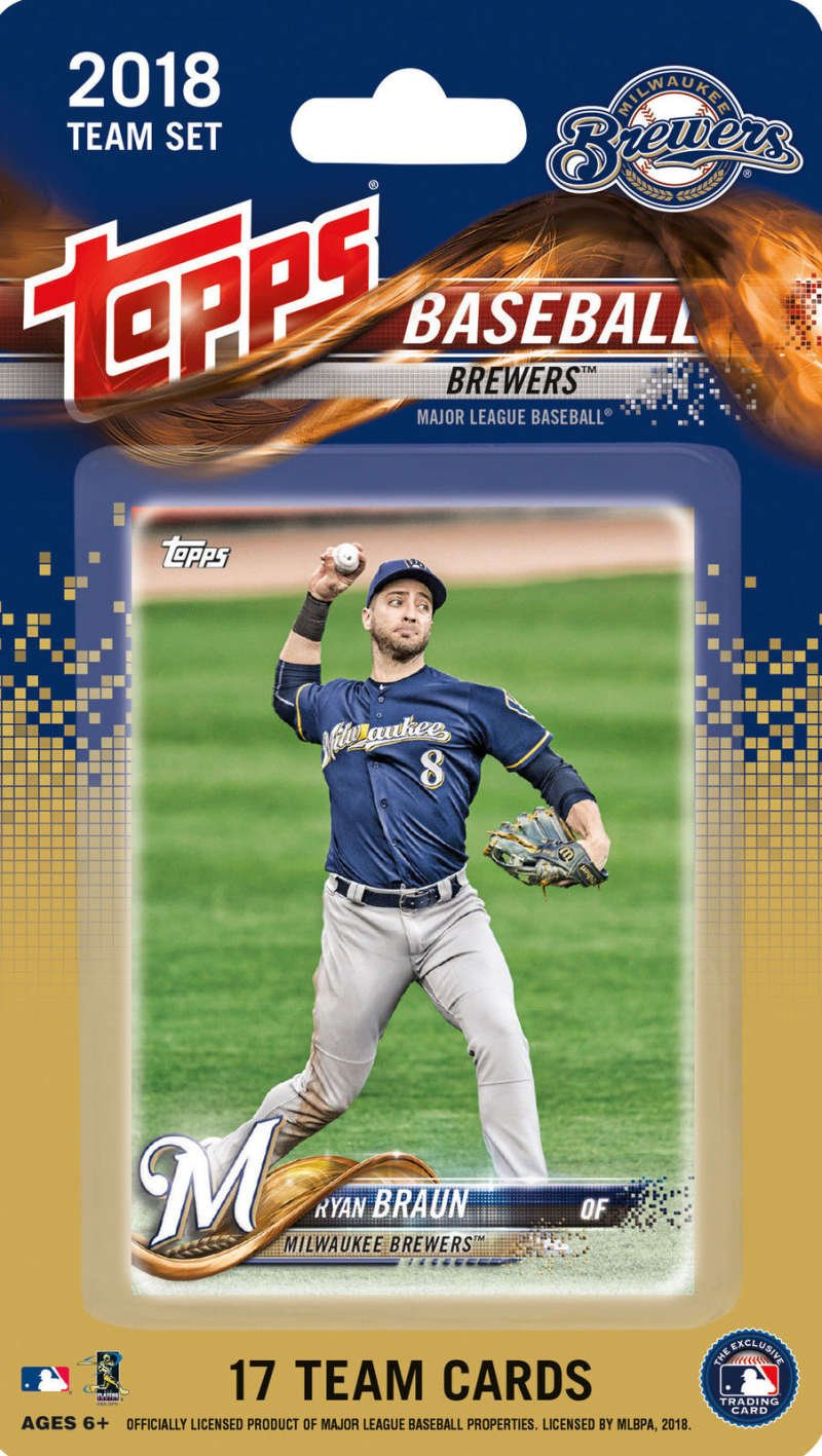2018 Topps Baseball Factory Milwaukee Brewers Team Set of 17 Cards which includes: Ryan Braun(#MB-1), Chase Anderson(#MB-2), Manny Pina(#MB-3), Orlando Arcia(#MB-4), Lewis Brinson(#MB-5), Jonathan Villar(#MB-6), Keon Broxton(#MB-7), Brett Phillips(#MB-8), Zach Davies(#MB-9), Josh Hader(#MB-10),