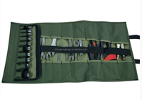 Army green canvas motorcycle tool roll bag
