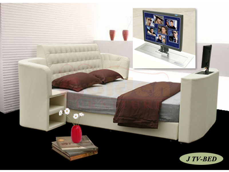 King Size Leather Bed With Automatic Tv Lift Frame On G922