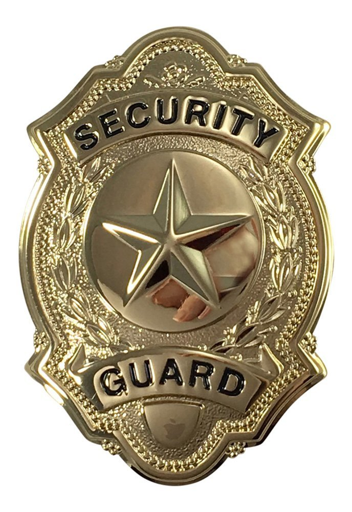 "Security Guard Officer Star Center Uniform Shirt Jacket Badge Shield Gold Finish 1-5/8"" x 2-1/2"""